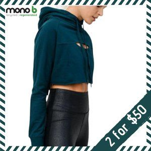 Mono B Cropped Cut Out Hoodie FOREST GREEN!